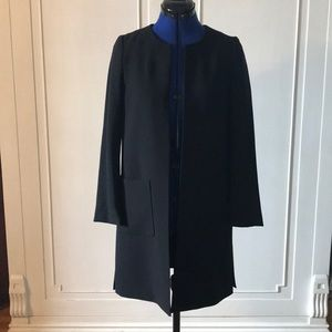 NWT H&M Collarless Long Black Blazer Suit Coat 04